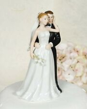 Glazed Porcelain Elegant Calla Lily Bride and Groom Wedding Cake Topper Figurine