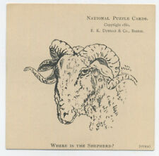 Puzzle trade card - shows sheep - find the shepherd - Buffalo, NY store