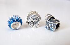925 Sterling Silver SWAROVSKI & Cubic Zirconia European Charm Bead Set - 3pieces