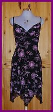 JANE NORMAN black pink stretch chiffon floral party prom midi dress fairy hem 8