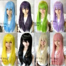 Belle dame perruque longue ligne droite 8 couleursconplay wig+hairnet