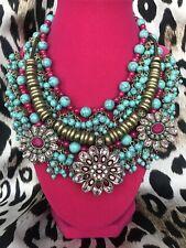 Betsey Johnson Boho Betsey Turquoise Bead Fuchsia Crystal Flower Necklace $195
