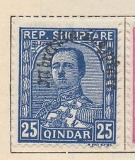ALBANIA;  1928 Hoxha Optd. issue Mint hinged  25q. value