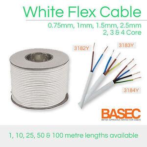WHITE FLEX CABLE 2 CORE 3 CORE 4 CORE 0.75MM 1MM 1.5MM 2.5MM 3182Y 3183Y 3184Y