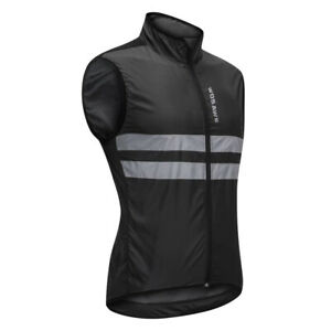 Mens Cycling Vest - High Visibility Sleeveless Jersey Top Windproof Running
