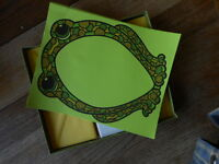 Vintage 70's 60's Stationary Green Frog ? Retro Letter Notes Groovy Funky