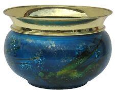 Vaso  in rame ed ottone, decorato a mano BLU CORALLO dia cm 20