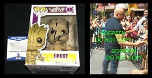 Vin Diesel signed Groot funko pop Guardians Galaxy poster photo Fast Furious Dom
