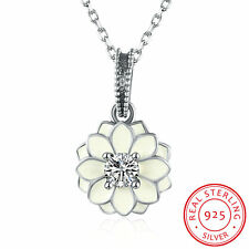 Hot 925 Sterling Silver Necklace Lily Flower Pendant Diamond Bib Statement Charm