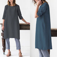 ZANZEA Women Plus Size Sundress Knee Length Loose Office Work Ladies Shift Dress