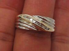 .16 tcw Sz 8.5 Ai-648 8.09 grams Stunning 14K 2Tone Men'S Diamond Band Ring