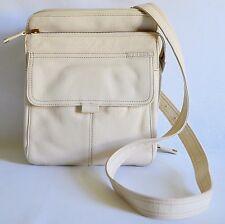 Fossil Crossbody Organizer Shoulder Bag Purse Womens Ivory Cream Leather Handbag