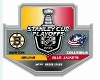2019 NHL PLAYOFFS PIN 2ND ROUND BOSTON BRUINS COLUMBUS BLUE JACKETS PUCK STYLE