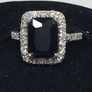 Premier Designs PD Ring Size 7.5 Couture Silver Tone Black & Clear Rhinestones