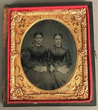 1/6 PLATE TINTYPE TWO YOUNG WOMEN, LIKELY SISTERS, HOLDING HANDS, IN HALF CASE
