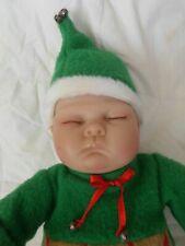 Adorable Ashton Drake Tiny Miracle Christmas Ringle Elf Baby Doll Vinyl/Cloth