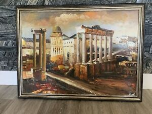Large Original Oil Painting On Canvas, In Wooden Painted Frame.