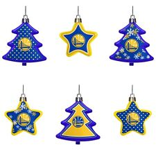 Golden State Warriors Shatterproof TREES & STARS Christmas Tree Ornaments 6 pack