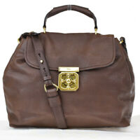 Authentic CHLOE Logo Elsie 2 Way Hand Bag Leather Brown Leather Hungary 88BS527