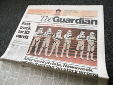 STAR WARS PREMIER- THE GUARDIAN FULL NEWSPAPER FRONT COVER 16 MAY 2005 . NOT DVD