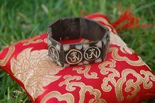 Carved Dark Yak Bone Bracelet with Om Script From Nepal