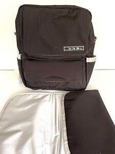 JuJuBe Black & Silver Diaper Bag Backpack with Changing Pad EUC