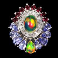 Unheated Oval Fire Opal Rhodolite Garnet Tanzanite Cz 925 Sterling Silver Ring