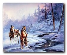 Wall Decoration Native American Indian Horse Snow Forest Art Print (16x20)