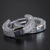 Small White Gold 925 Sterling Silver Men's Lab Diamond Iced Cuff Hoop Earrings