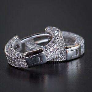 Small White Gold 925 Sterling Silver Men's Lab Sim Diamond Iced Hoop Earrings