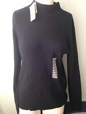 Karen Scott Black Ribbed Sweater Women's Size Medium NEW