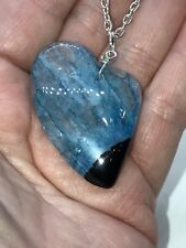 "Geode Heart Agate Druzy Crystal Tibetan Silver 18"" Necklace D-1106"