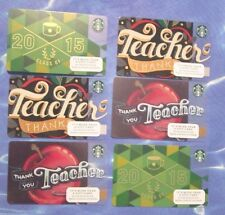New for Sales - Starbucks Card - Thank you Teacher -2015  ( total 6 cards )