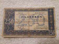Geldschein Banknote Niederlande ZILVERBON 2,50 Serie L Oktober 1938