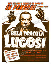 THE TELL TALE HEART THEATER WINDOW CARD POSTER BELA LUGOSI LIVE ON STAGE 1946