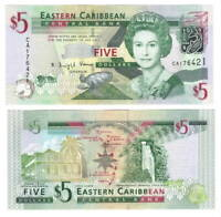 EASTERN EAST CARIBBEAN STATES $5 Dollars UNC Banknote (2008) P-47 Queen E II 2