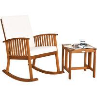 2PCS Acacia Wood Patio Rocking Chair Table Set Rocker Cushioned Coffee Table