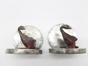 Antique Painted Cast Iron Duck bookends Mounted On Silverplate Base