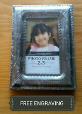 """FREE ENGRAVING (PERSONALIZED) Silver Tone 2"""" x 3"""" Wallet Photo Frame"""