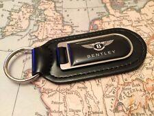 Bentley Nero Stampato Qualità Nero Vera Pelle Portachiavi Sperone CONTINENTAL GT