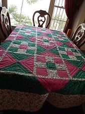 Machine pieced hand quilted cotton blend multi-color patchwork quilt blanket