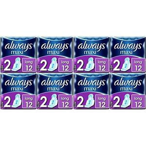 96 x Always Maxi Long Sanitary Pads w/ Wings, Leakage Barriers - Super Absorbent