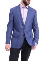 Mens 42R Napoli Classic Fit Blue Stepweave Half Canvas Wool Blazer Coat-42R