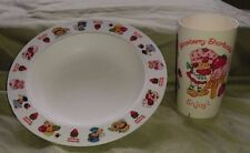 Vintage Strawberry Shortcake plastic cup and bowl set, Collectible