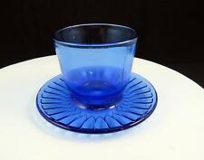 """MACBETH EVENS PETALWARE COBALT BLUE 2 3/4"""" MUSTARD CUP WITH ATTACHED UNDER PLATE"""