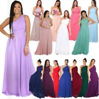 Womens Long Wedding Prom Evening Formal One Off Shoulder Bridesmaid Dress 8-18