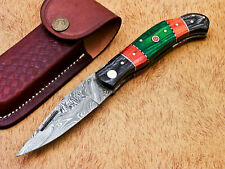 AWESOME HAND FORGED DAMASCUS STEEL POCKET FOLDING KNIFE-BACK LOCK- MP-3830