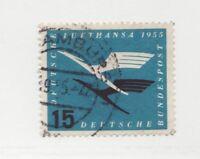 Germany Sc #C63 Θ used BOB airmail postage stamp. Lufthansa Emblem, 1955