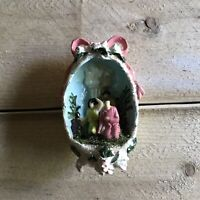 Vintage Diorama Christmas Ornament Nativity Shepherds Holiday Decoration Retro