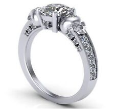 Certified 2.40Ct Round Diamond Skull Design Engagement Ring in 14K White Gold